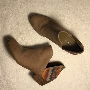 INDIGO RD Tan Aztec Ankle Cutout Booties